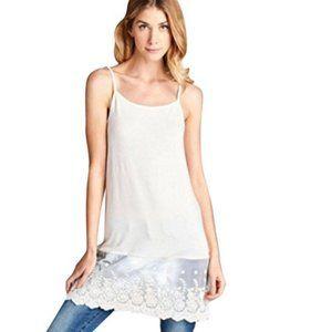 S ODDI Off White Lace Dress Extender Slip Tunic